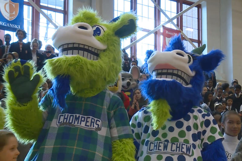 The Yard Goats' new mascots, Chompers and Chew Chew.