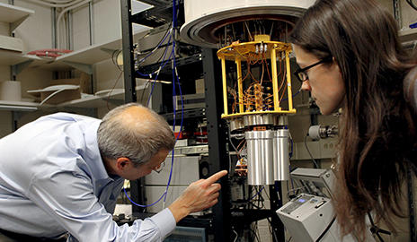 Yale Quantum Institute researchers have an array of equipment at the disposal, including this dilution refrigerator for experiments on quantum circuits.