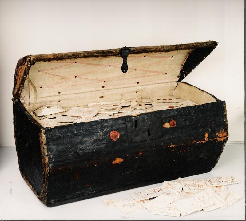 The trunk containing undelivered letters and records from the postmaster's administration.