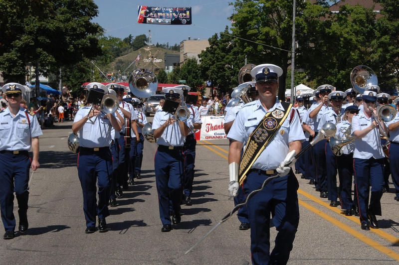 The Coast Guard Band performs during the Coast Guard Festival Parade in Grand Haven, Michigan in August 2015.