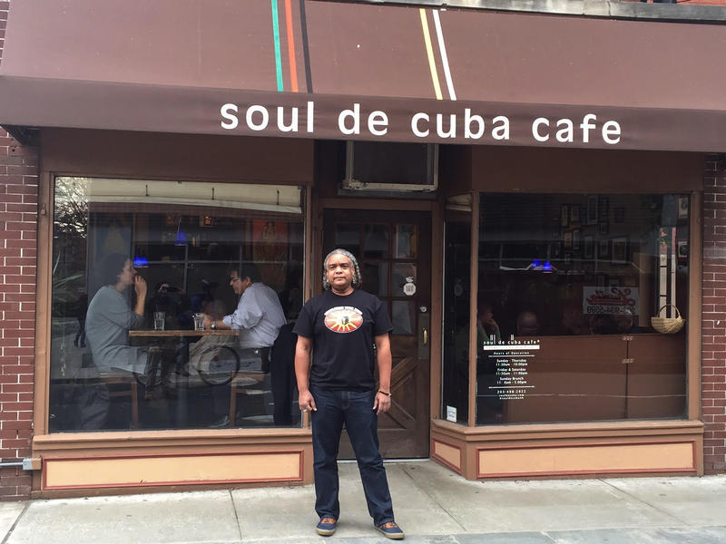 Soul de Cuba Café founder Jesus Puerto outside of the New Haven restaurant.