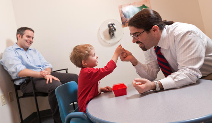 James McPartland, right, in the Yale Child Study Center, where he is an associate professor.