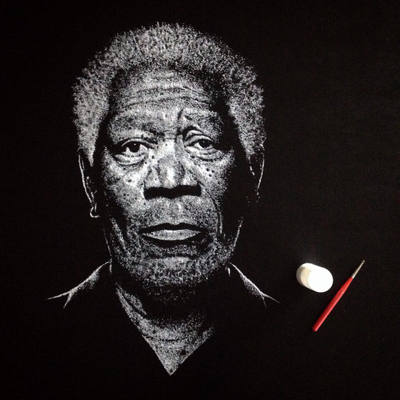 """""""Salty Morgan,"""" Connecticut-based artist Brian Owens' salt depiction of actor Morgan Freeman, which has garnered national attention."""