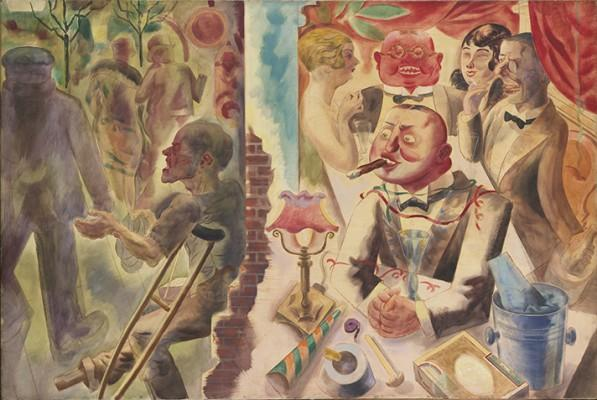 "German painter George Grosz's ""Drinnen und Draussen""  is part of Yale Art Gallery's ""Everything is Dada"" exhibit"