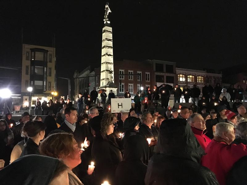 New London's parade plaza hosts the vigil.