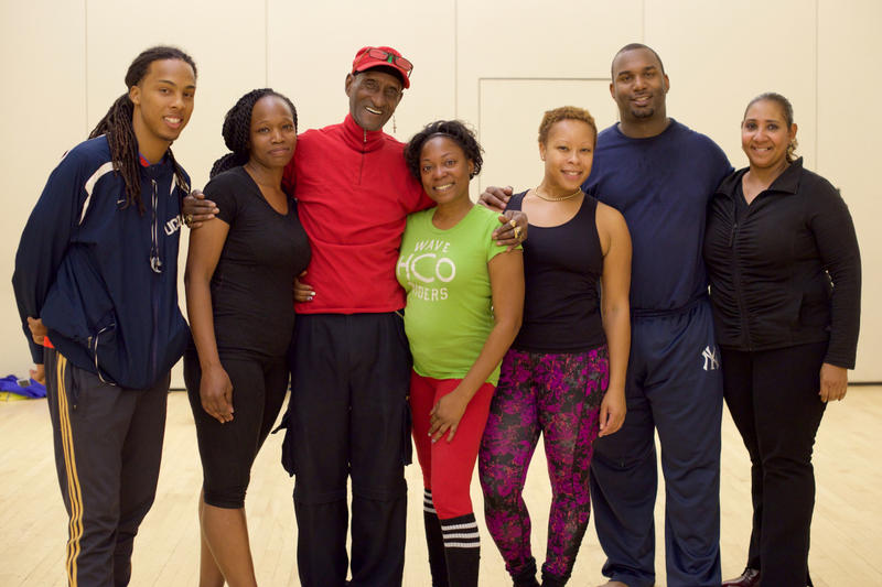 Aca Thompson with students he has taught since they were children. Left to right: John Fuentes, Joon Wilson, Tyra Long, Cherresse Monique, Gerald Skyers,and Jacqueline (Anire) French.