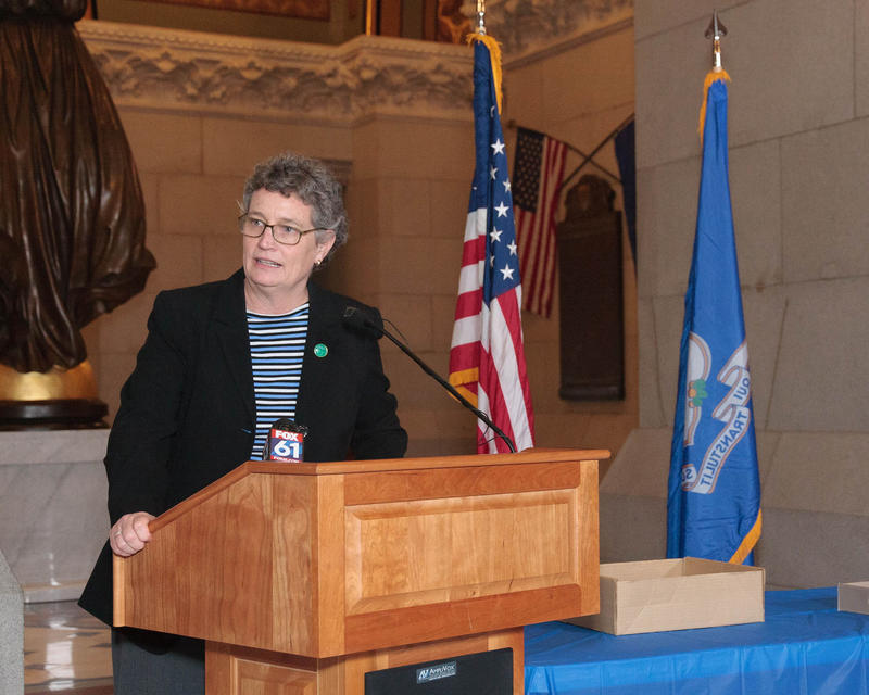 State Senator Beth Bye speaks at her Connecticut Wartime Service Medal Award Ceremony at the State Capitol in Hartford in November 2015.