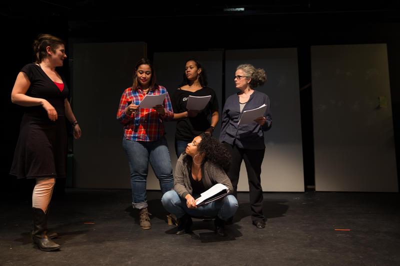 Director Hannah Simms works with actors Cin Martinez, Aurelia Clunie, Briana Maia, and Debra Walsh.