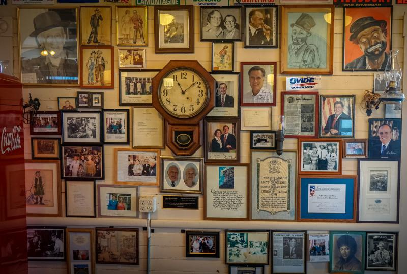 The ghosts of presidential campaigns past at Robie's Country Store in Hooksett, NH.