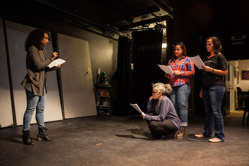 "Actors Briana Maia, Debra Walsh, Cin Martinez, and Aurelia Clunie, during a rehearsal for ""Meet Us Where We Are."