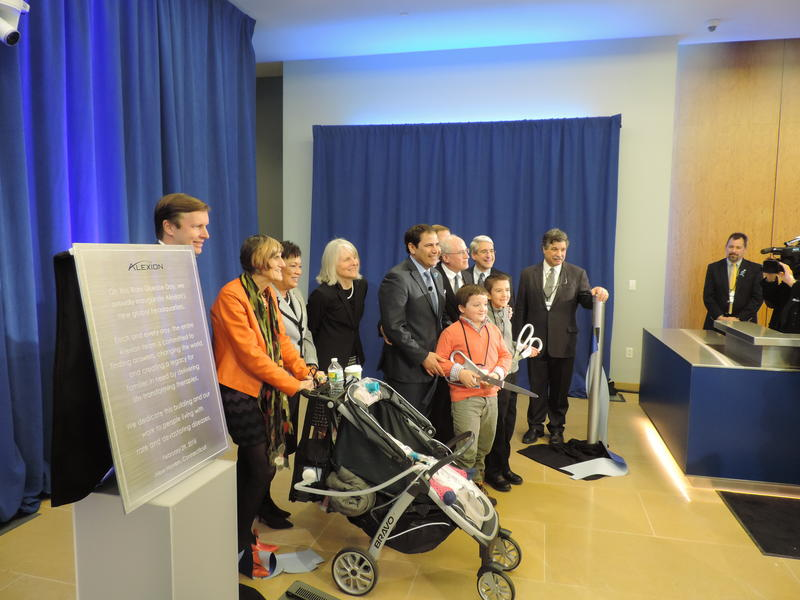 Patients and their families join politicians and executives at the opening of Alexion's global headquarters.
