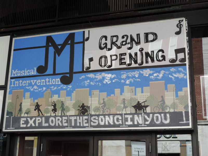 Musical Intervention storefront in New Haven.