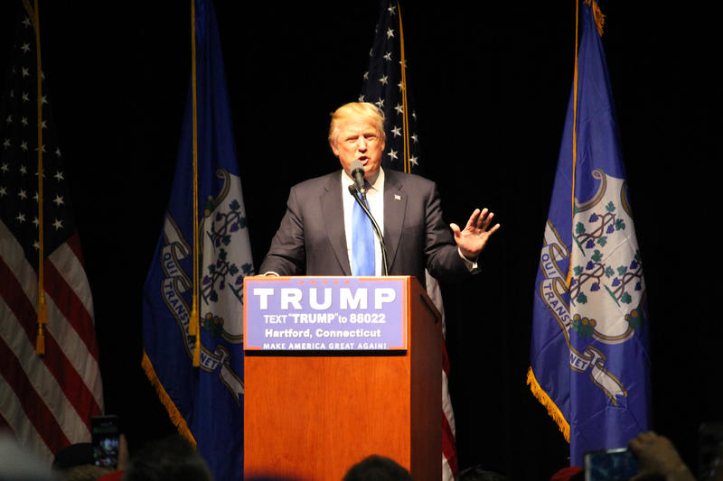 Donald Trump held a rally at the Hartford Convention Center on Friday night.