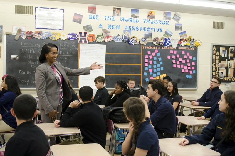 Jahana Hayes teaches students at John F. Kennedy High School in Waterbury, Connecticut.