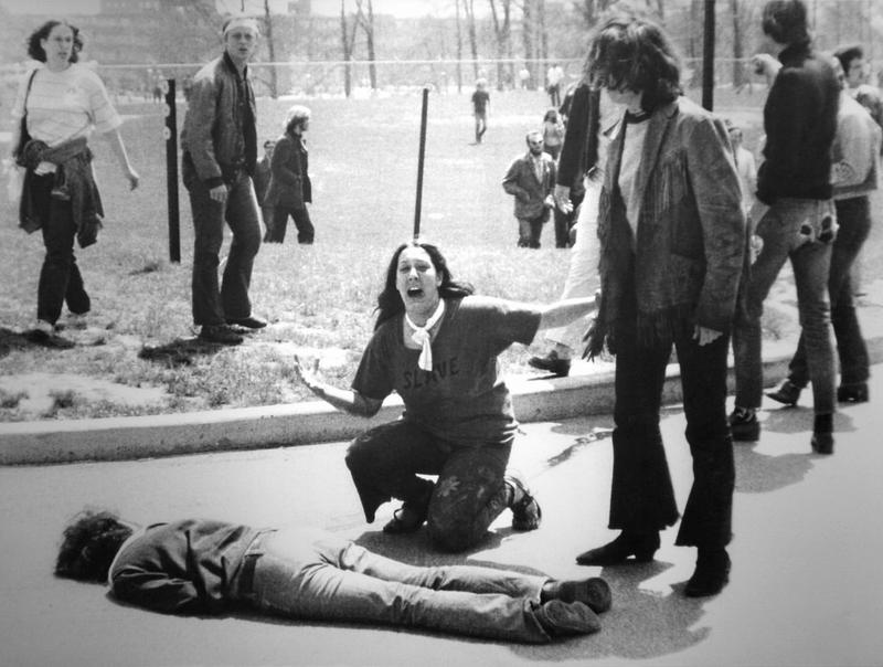 An iconic image from May 4, 1970 at Kent State University in Ohio, when armed National Guardsmen shot and killed four students and injured many more. Activists had been protesting the U.S. invasion of Cambodia.