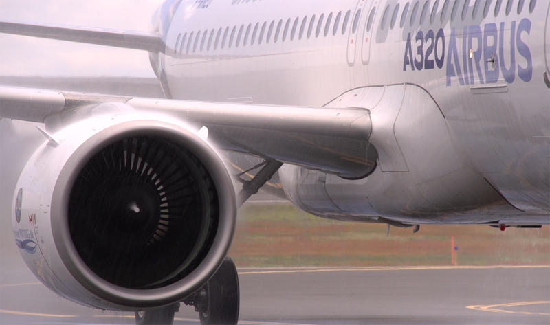 Airbus powered by Pratt and Whitney's PurePower Geared Turbofan engines.