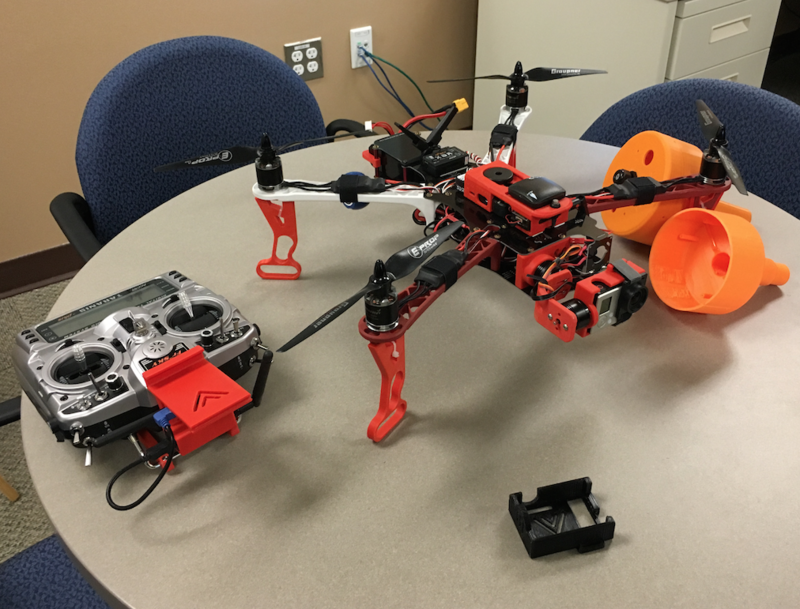 A quad copter built partially by 3D printing at the Coast Guard's new STIC center.