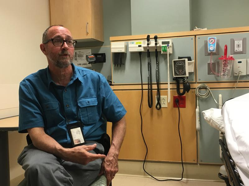 Outreach worker Jeff Watson in the emergency department at Backus Hospital