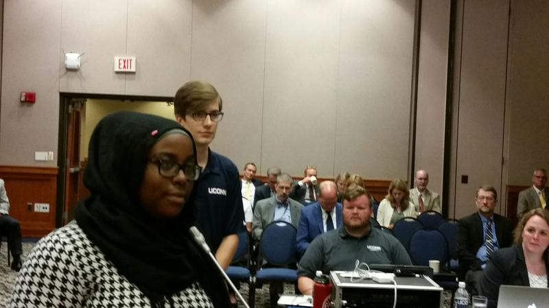 UConn students Haddiyyah Ali and Daniel Byrd address the university's Board of Regents before a vote to revoke comedian Bill Cosby's honorary fine arts degree.