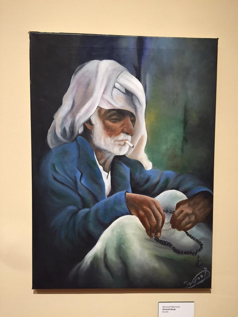 This portrait by Iraqi refugee artist Wurood Mahmood was painted in Iraq, before Wurood and her family fled.