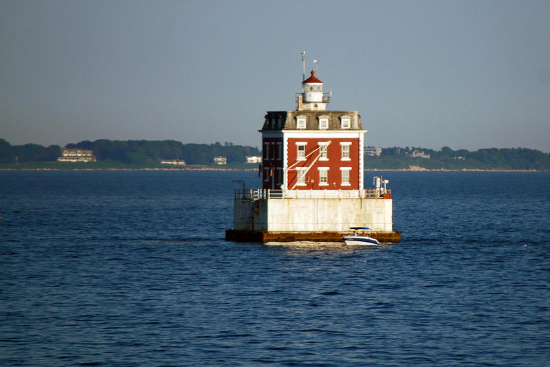 The New London Ledge Lighthouse in Groton, Connecticut, at the mouth of New London Harbor.