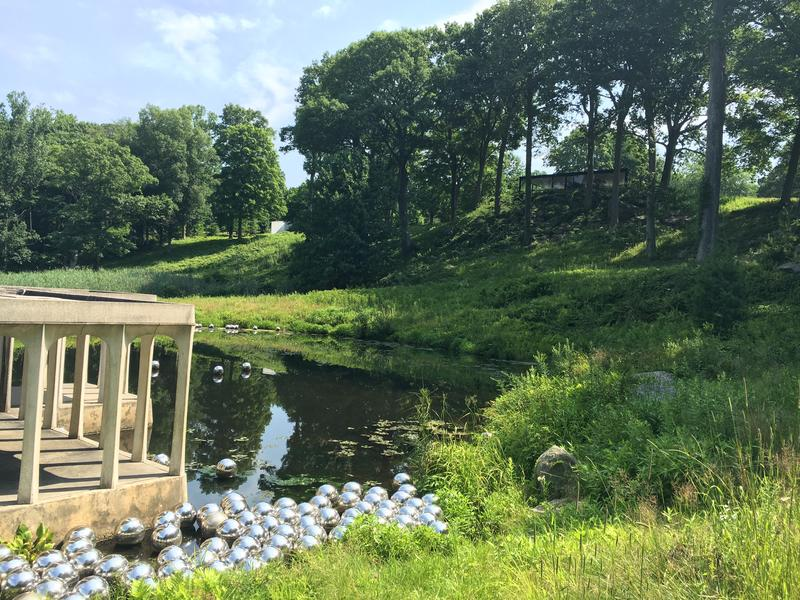 "Yayoi Kusama's ""Narcissus Garden"" at the Philip Johnson Glass House."
