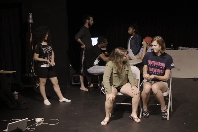 """Youth Play Institute interns rehearse """"A Bullet's Conscience""""."""