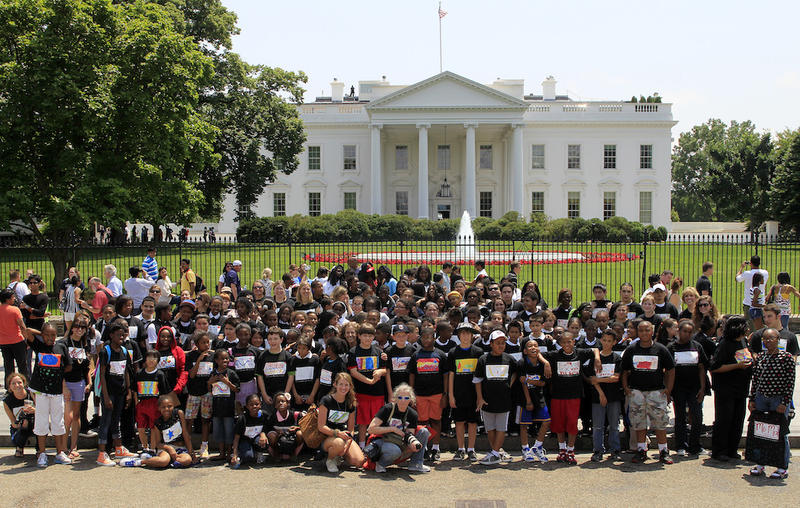 Participating D.C. students pose in front of the White House.