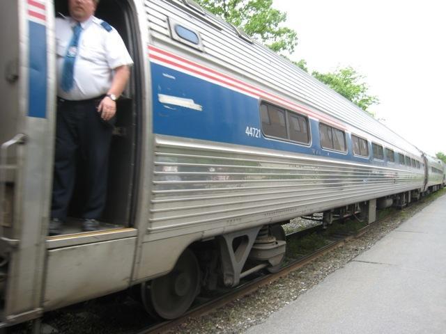 An Amtrak train in Brattleboro, VT