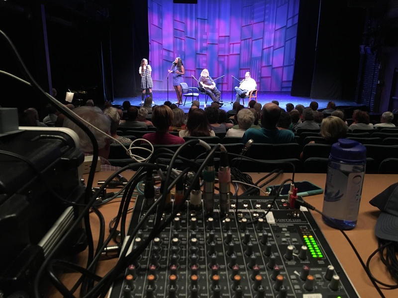 left to right: Ephie Aardema, Crystal Lucas-Perry, Bruce Vilanch, and Colin on stage at The Norma Terris Theater in Chester, Conn.