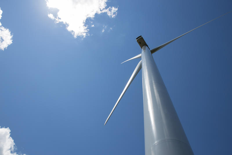 One of Connecticut's two commercial wind turbines in Colebrook, Connecticut. The company that operates the Colebrook farm is proposing to build a second farm in nearby Goshen.