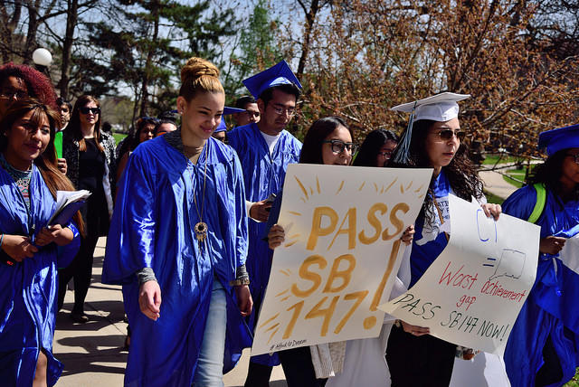 Advocates in Connecticut rally earlier this year for a bill that would have provided college financial aid to undocumented immigrants.  Advocates for immigration reform are highlighting the economic contributions of immigrants in Connecticut.