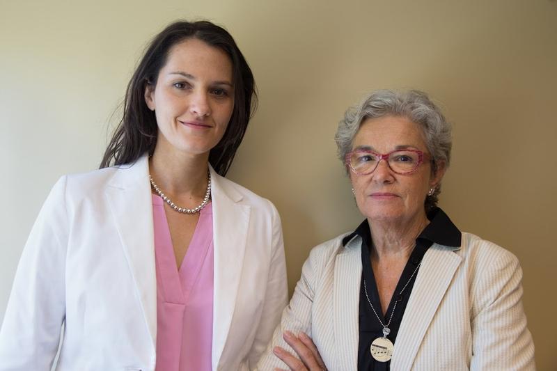 Jennifer Schneider, spokesperson for SEIU 1199 New England, and Lindsay Matthews, parent of a man with developmental disabilities.