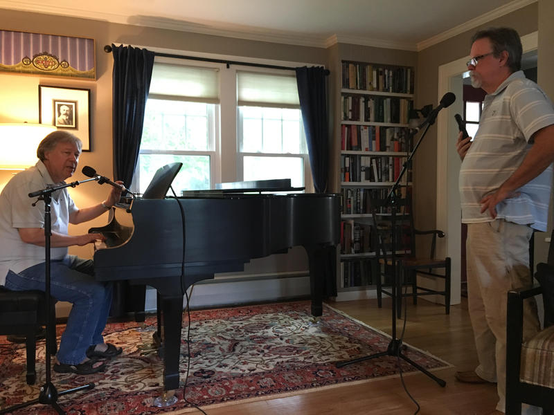 Steve Metcalf (at piano) and Colin in the Fortress of Solitude