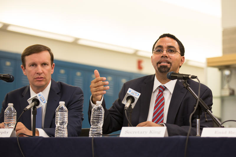 U.S. Secretary of Education John King speaks at a panel in Hartford on school diversity.