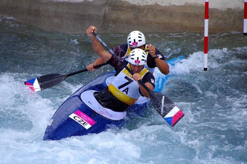 A slalom canoe team competes at the 2012 Olympic Games.