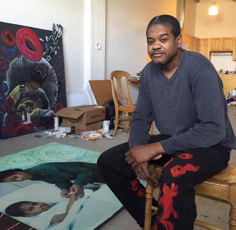 Haitian-American artist Hertz Nazaire in his Bridgeport studio.