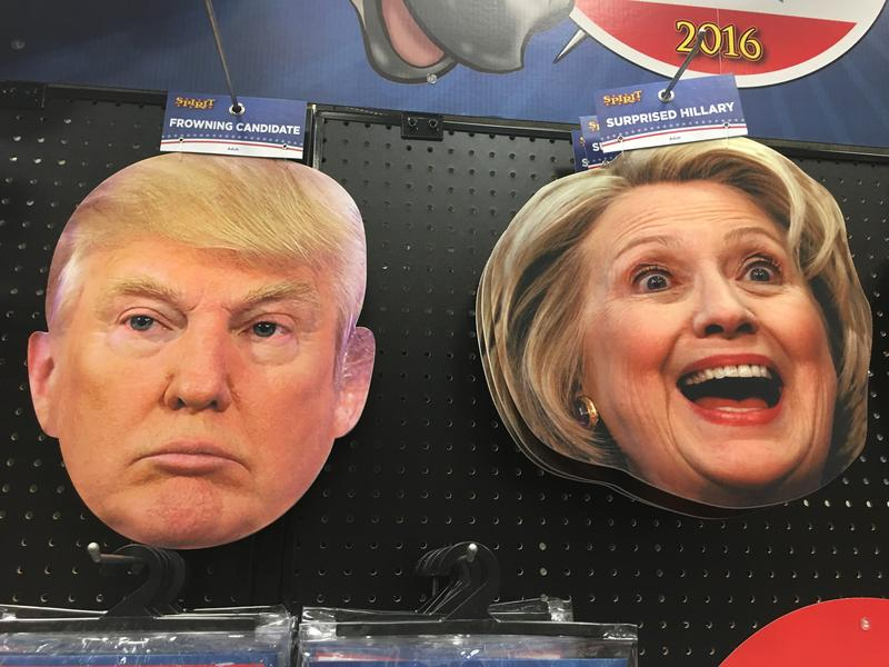 Donald Trump and Hillary Clinton Halloween masks.