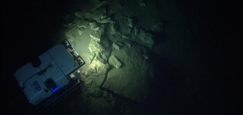 A NOAA ship investigates underwater canyons.