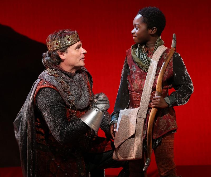 "Robert Sean Leonard and Sana Sarr in Lerner and Loewe's ""Camelot,"" directed by Mark Lamos, at Westport Country Playhouse, now playing through November 5."