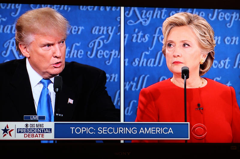 Donald Trump and Hillary Clinton face off during the first debate.