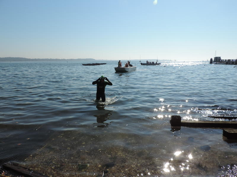 Christopher Swain swimming up to The Sound School.