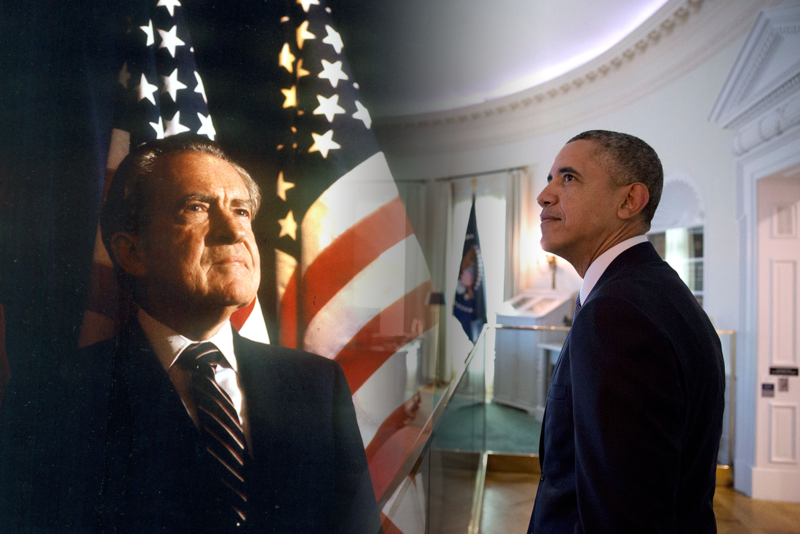 President Richard Nixon, left, and President Barack Obama.