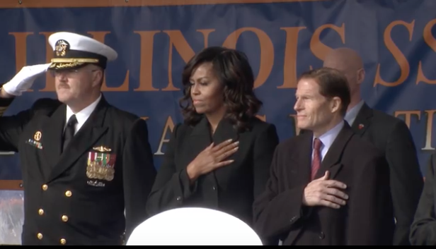 Michelle Obama at the commissioning ceremony Saturday.