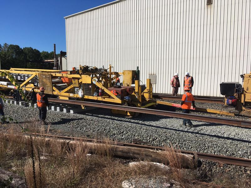 The Track Construction Machine can assemble over a mile of track a day, cutting construction time by weeks.