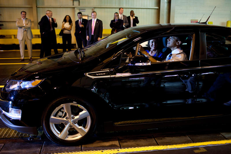 President Barack Obama, with Assembly Manager Teri Quigley, drives a new Chevy Volt, during his tour of the General Motors Auto Plant in Hamtramck, Mich., July 30, 2010. In Connecticut, the Chevy Volt has been the most popular car to get state rebates.
