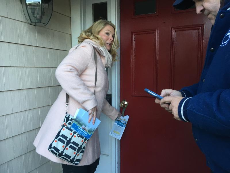 Heather Somers, Republican candidate for the state senate, goes door to door in Pawcatuck