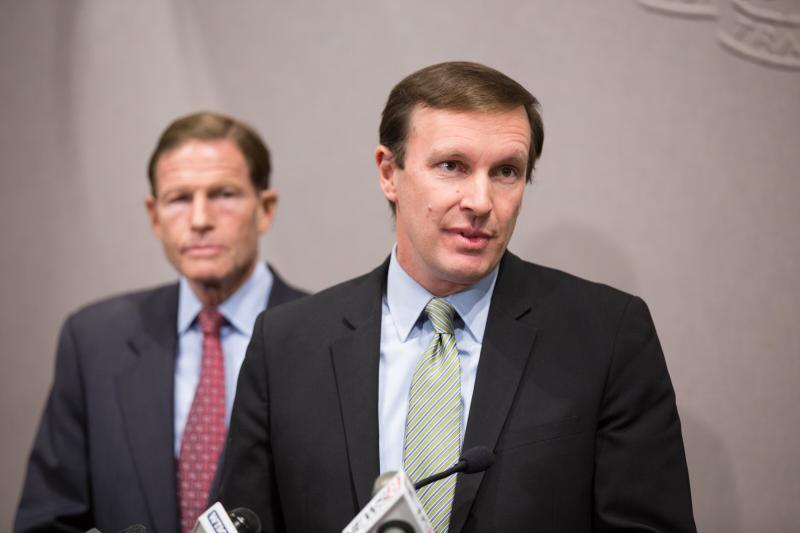 Senators Chris Murphy, right, and Richard Blumenthal spoke out about gun control efforts after a mass shooting in Las Vegas left over 58 people dead.