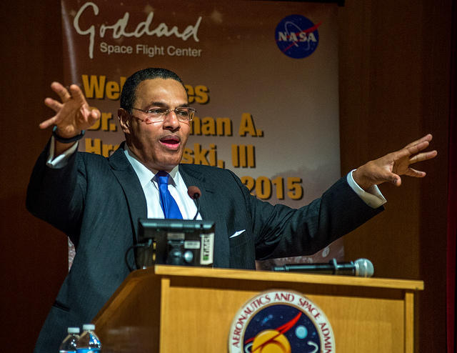UMBC President Freeman Hrabowski, III speaking at NASA's Goddard Space Flight Center