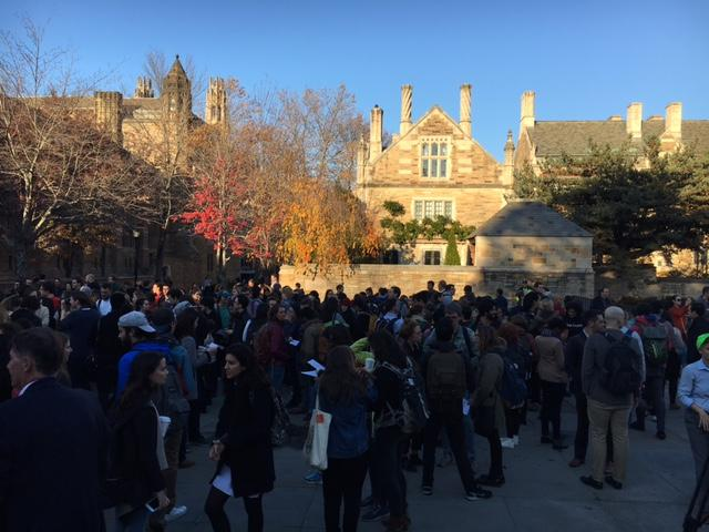 Yale University students participating in walkout
